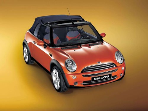 "Mini Cooper Convertible Car Poster Print on 10 mil Archival Satin Paper 16"" x 12"""