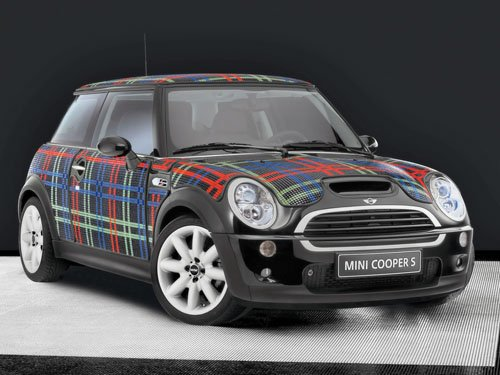 "Mini Cooper Wears Bisazza Tartan Concept Car Poster Print on 10 mil Archival Satin Paper 16"" x 12"""