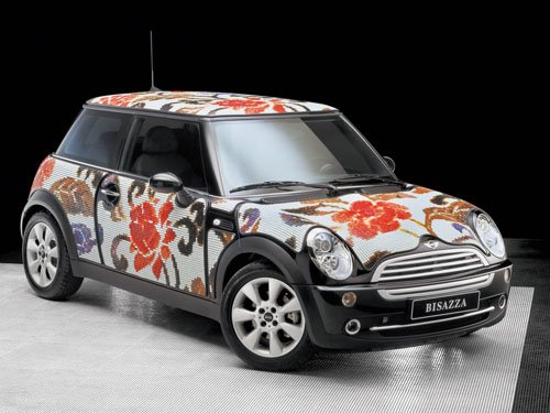 "Mini Cooper Wears Bisazza Flowers Concept Car Poster Print on 10 mil Archival Satin Paper 16"" x 12"""