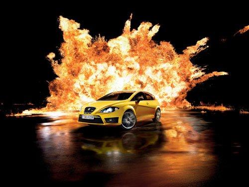 """SEAT Leon Cupra R 2011 Car Poster Print on 10 mil Archival Satin Paper 16"""" x 12"""""""