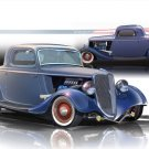 "1934 Ford 3-Window Coupe Hot Rod Car Poster Printon 10 mil Archival Satin Paper 16"" x 12"""