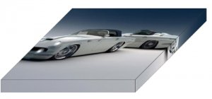 """Thunderbird 1955 Custom Archival Canvas Car Print (Mounted) 16"""" x 12"""""""