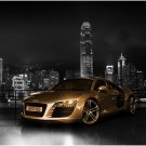 "Audi R8 Gold Car Poster Print on 10 mil Archival Satin Paper 26"" x 16"""