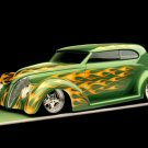"Ford Sedan (1939) Custom Car Poster Print on 10 mil Archival Satin Paper 16"" x 12"""