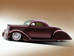 "Ford (1935) Custom Car Poster Print on 10 mil Archival Satin Paper 20"" x 15"""