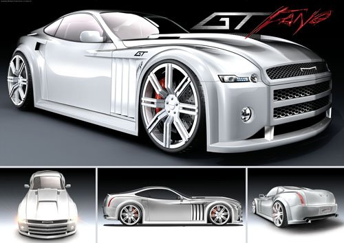 "GT Fang Concept Car Poster Print on 10 mil Archival Satin Paper 24"" x 17"""