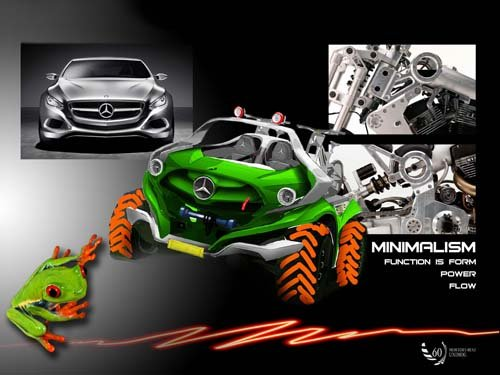 """Mercedes-Benz Unimog Collage Concept Car Poster Print on 10 mil Archival Satin Paper 16"""" x 12"""""""
