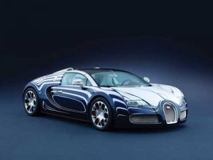 "Bugatti Veyron Grand Sport L'Or Blanc Car Poster Print on 10 mil Archival Satin Paper 36"" x 24"""