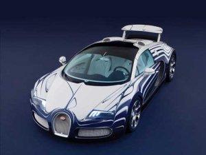 "Bugatti Veyron Grand Sport L'Or Blanc Car Poster Print on 10 mil Archival Satin Paper 36"" x 24"""