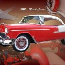 "Chevrolet Bel Air Hardtop (1955) Custom Car Poster Print on 10 mil Archival Satin Paper 24"" x 16"""
