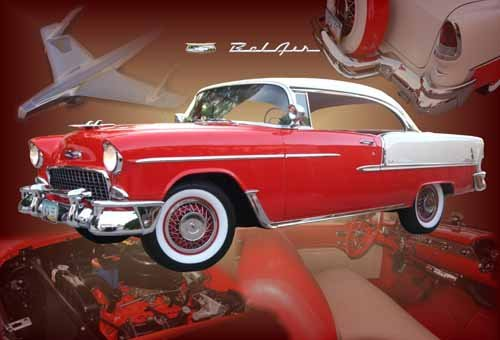 "Chevrolet Bel Air Hardtop (1955) Custom Car Poster Print on 10 mil Archival Satin Paper 30"" x 20"""