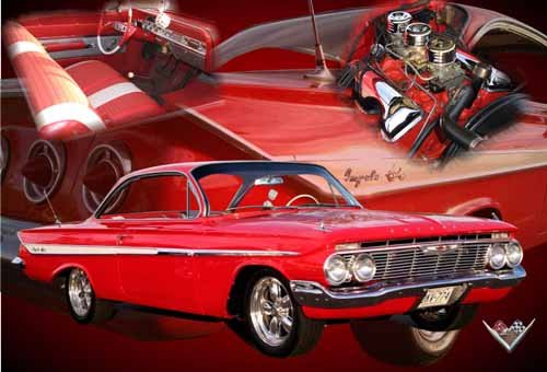 "Chevrolet Impala Collage (1962) Car Poster Print on 10 mil Archival Satin Paper 24"" x 16"""