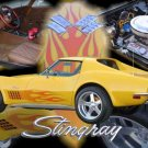 "Chevrolet C3 Corvette Coupe Collage (1972) Car Poster Print on 10 mil Archival Satin Paper 24"" x 16"""