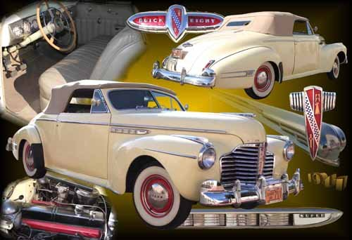 """Buick Convertible Collage (1941) Custom Car Poster Print on 10 mil Archival Satin Paper 24"""" x 16"""""""