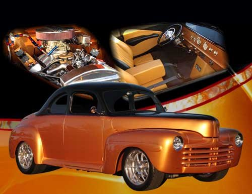 "Ford Gold Coupe (1948) Custom Car Poster Print on 10 mil Archival Satin Paper 24"" x 18"""