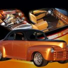 "Ford Gold Coupe (1948) Custom Car Poster Print on 10 mil Archival Satin Paper 20"" x 15"""