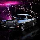 "Chevrolet 2-Door (1955) Custom Car Poster Print on 10 mil Archival Satin Paper 24"" x 18"""