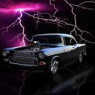 "Chevrolet 2-Door (1955) Custom Car Poster Print on 10 mil Archival Satin Paper 36"" x 24"""