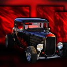 "Ford 5 Window Coupe (1932) Car Poster Print on 10 mil Archival Satin Paper 24"" x 18"""