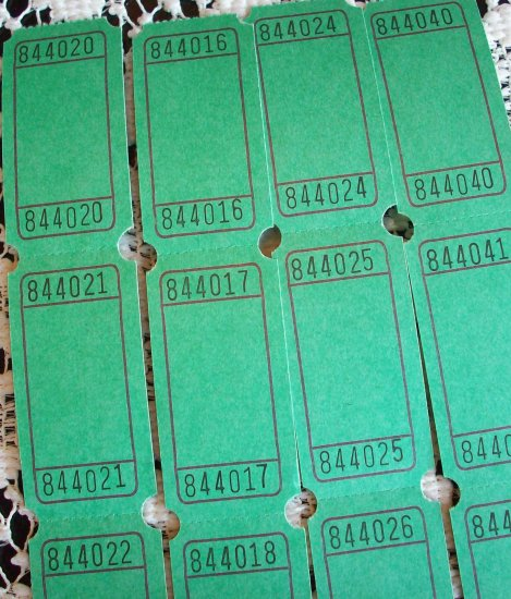 25 Blank Raffle Tickets Green