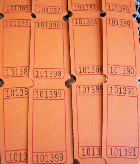 25 Blank Raffle Tickets Orange