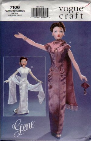 "Gene Fashion Doll 15 1/"" Vogue Craft Premier Night 40's Fashions Sewing Pattern NEW"