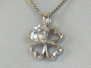Sterling silver poppy with CZ's #276