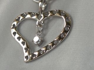Sterling silver heart on heart #316