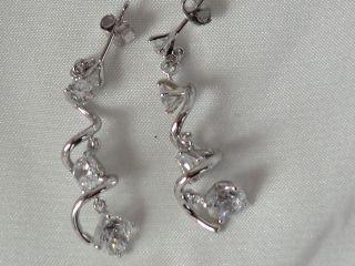 Swivel CZ's earringsin sterling silver
