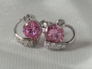 Pink CZ's in sterling silver earrings