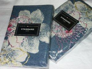 Tommy Hilfiger 2 Denim Standard Shams Pink Floral Embroidery NIP $134 Retail