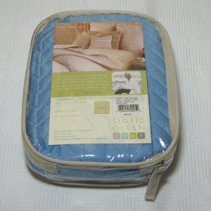 Sigrid Olsen CHEVRON STITCH Angel Blue One Quilted Euro Sham $86.00