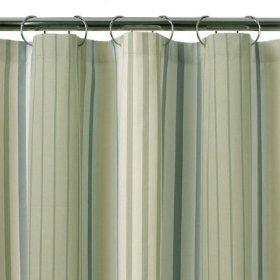 Fieldcrest Luxury COOL STRIPE Blue Green Fabric Shower Curtain Target