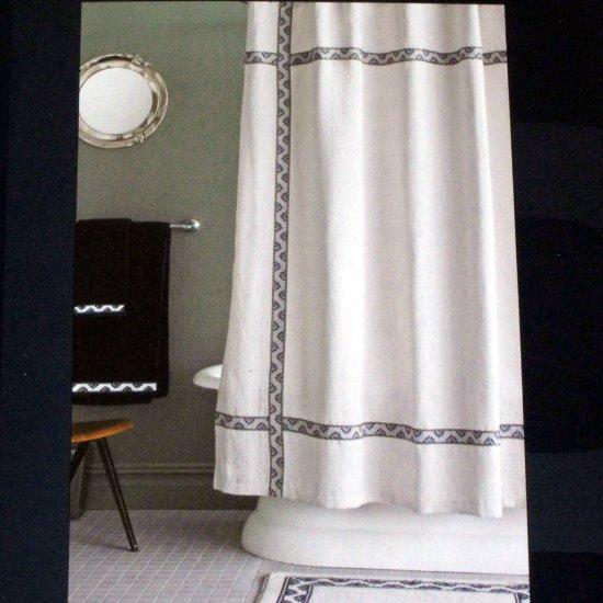 Thomas O Brien Floral Ribbon Navy Blue Black Ivory Fabric
