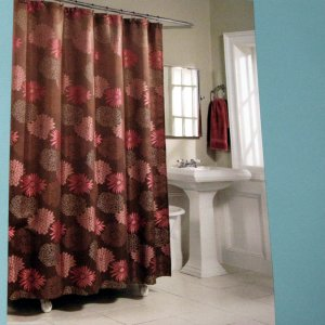 Laura Ashley Curtain Panels Black and Brown Shower Curtain