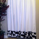 FLORAL ECLIPSE Black White Rod Pocket Curtain Panels by 100% Pure by Custom Comfort