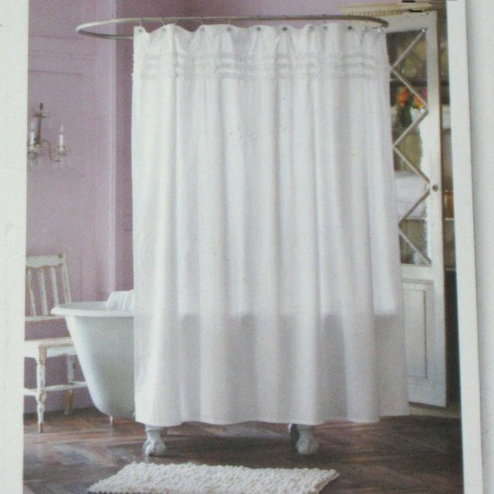 Simply shabby chic white ruffled shower curtain target for Shabby chic rhinestone shower hooks