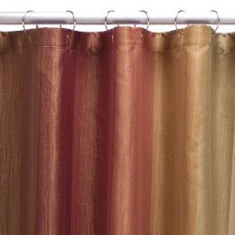 Target Home MULTICOLOR Earthtones Stripe Rust Golden Brown Khaki Green Fabric Shower Curtain
