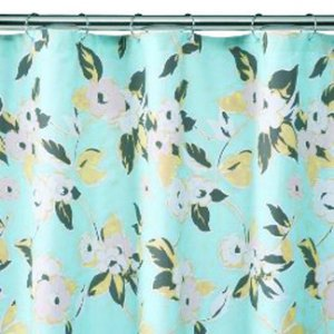 Target Home FEMININE Cyan Pink Green Fabric Shower Curtain