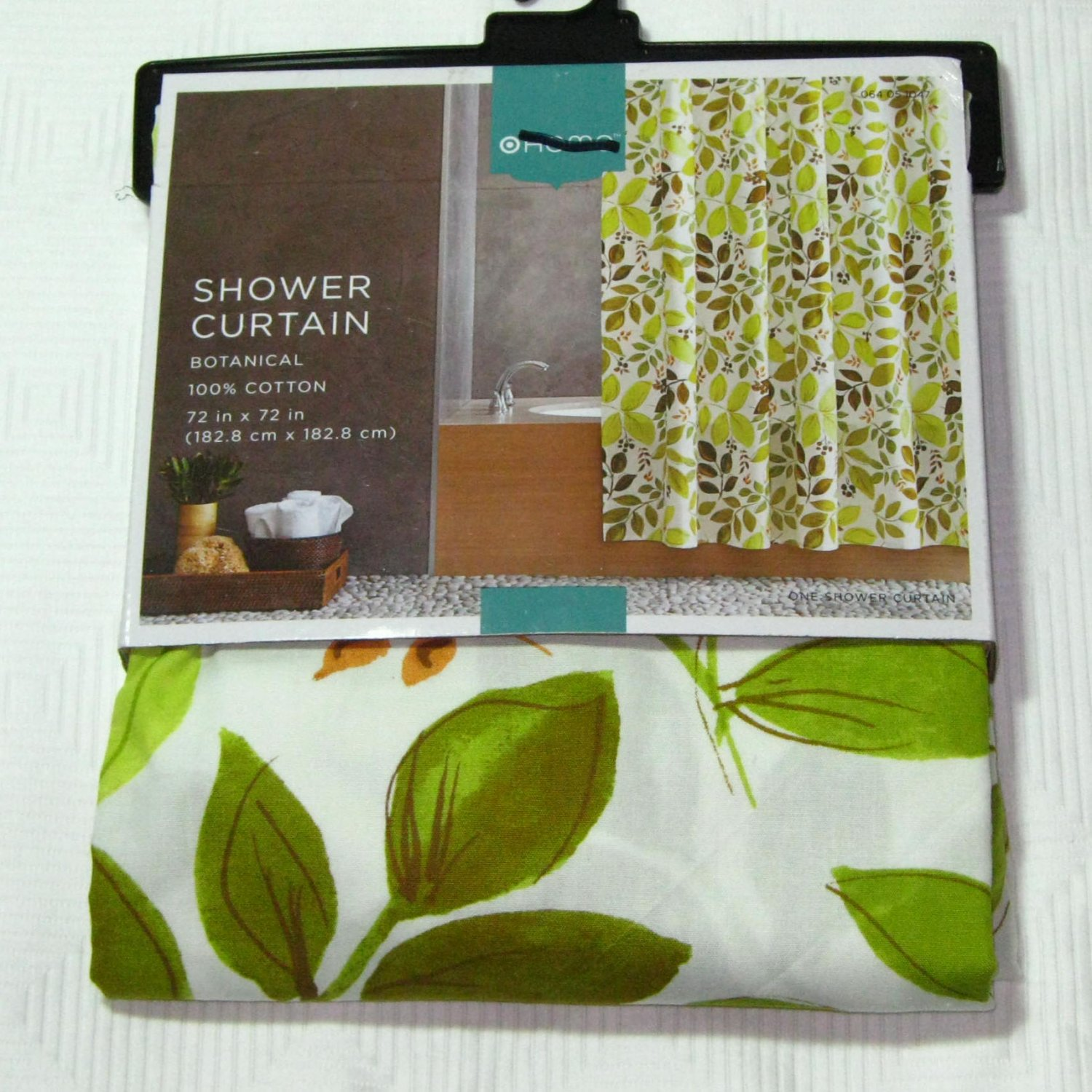 Target Home BOTANICAL Green Gold Brown Fabric Shower Curtain