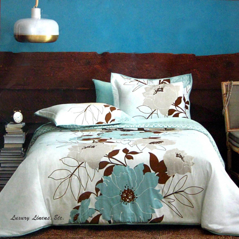 Dwell Studio FLORA Teal Blue Brown Gray Comforter Set Full ...