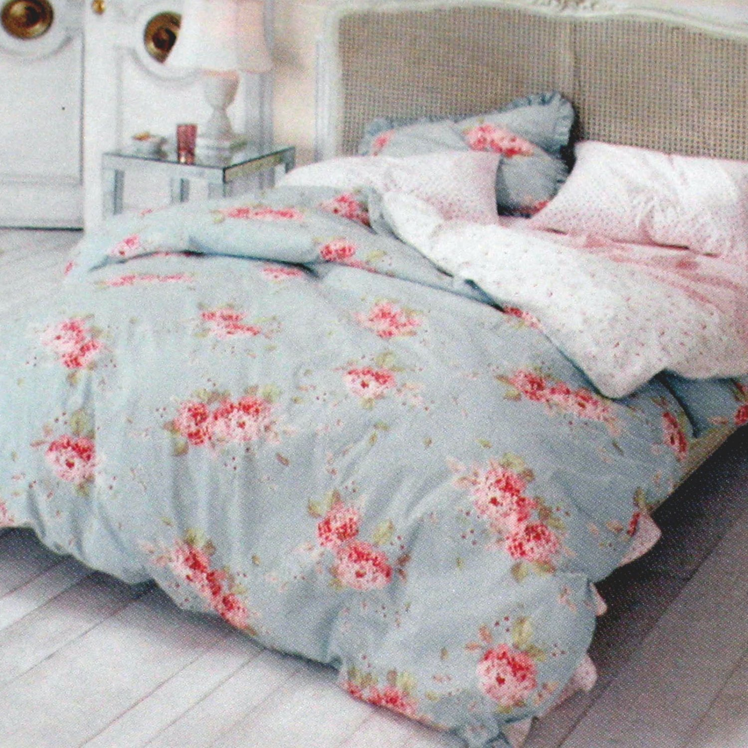 Simply shabby chic hydrangea rose king duvet no shams for Shabby chic bett