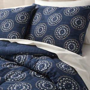 Target HOME MEDALLION King 3 pc  Duvet Set  2 Shams NAVY