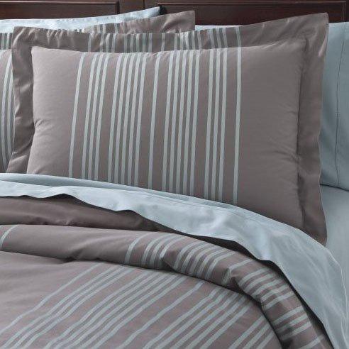Fieldcrest Luxury Blue Stripe Queen Full Duvet Set 2 Shams