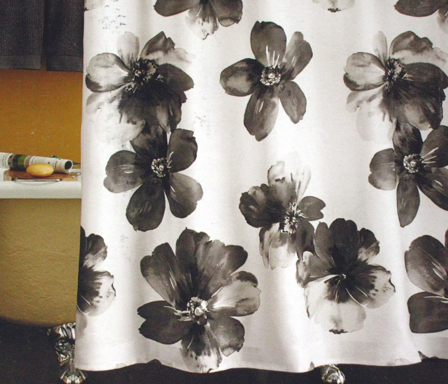 Target Home FLORAL WATERCOLOR Black White Fabric Shower Curtain