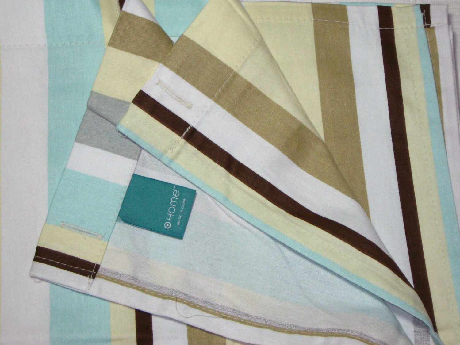 Target Home Aqua Tan Cream Gray Brown Stripe Fabric Shower Curtain