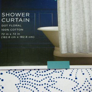 Target Home Navy Blue DOT FLORAL Fabric Shower Curtain