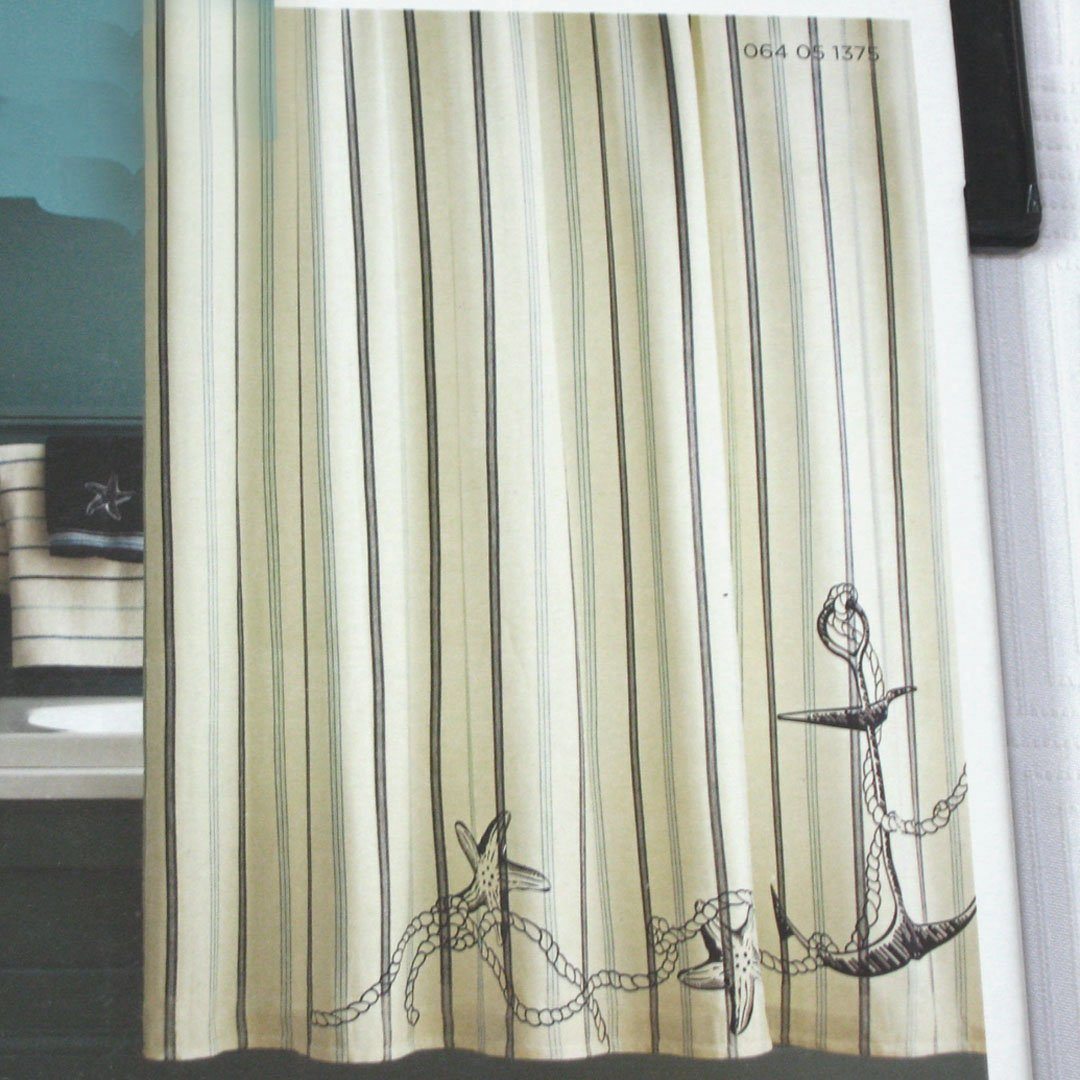 Allen Roth Curtain Rods Fish Shower Curtain