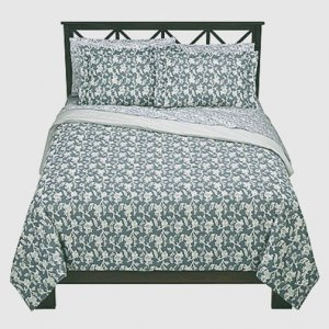 Thomas O'Brien PALE SKY King Duvet 3 pc Set VINTAGE MODERN Grey Blue