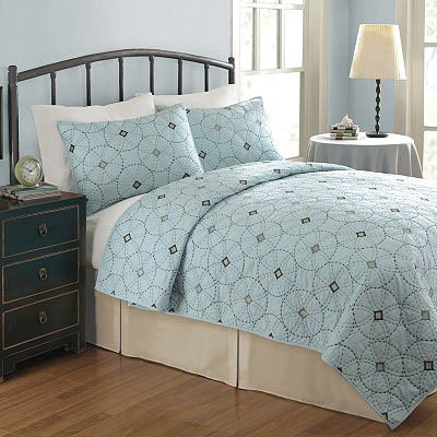 Kohl 39 S Kacy Embroidered Quilt Full Queen Blue Brown